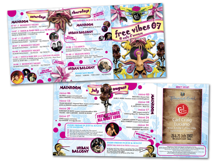 Café d'Anvers folder 3xA5 zigzag zomerevenementen FreeVibes