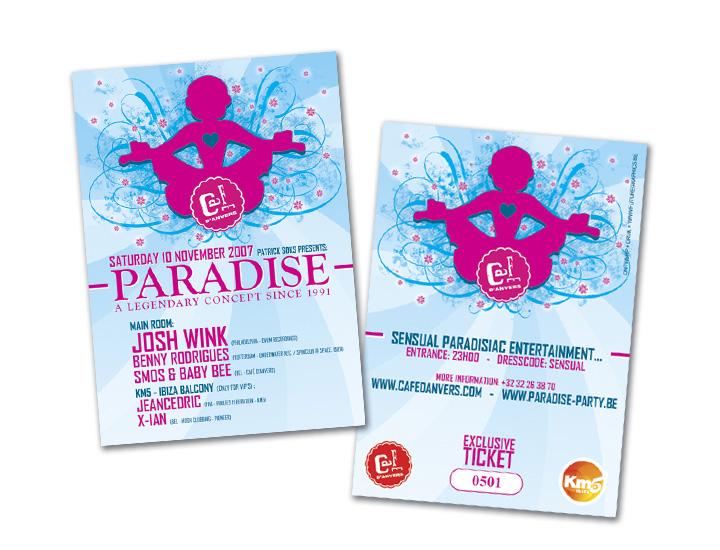 Paradise Café d'Anvers presale ticket genummerd