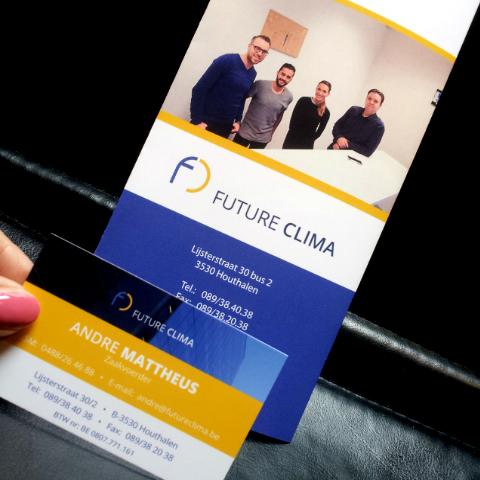 Future Clima folder en naamkaartjes
