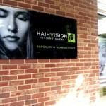 Hairvision Viviane Gaens Hasselt buitenpaneel grafisch ontwerp en drukwerk