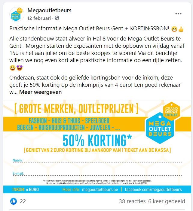 Mega Outlet Beurs social media kortingsbon