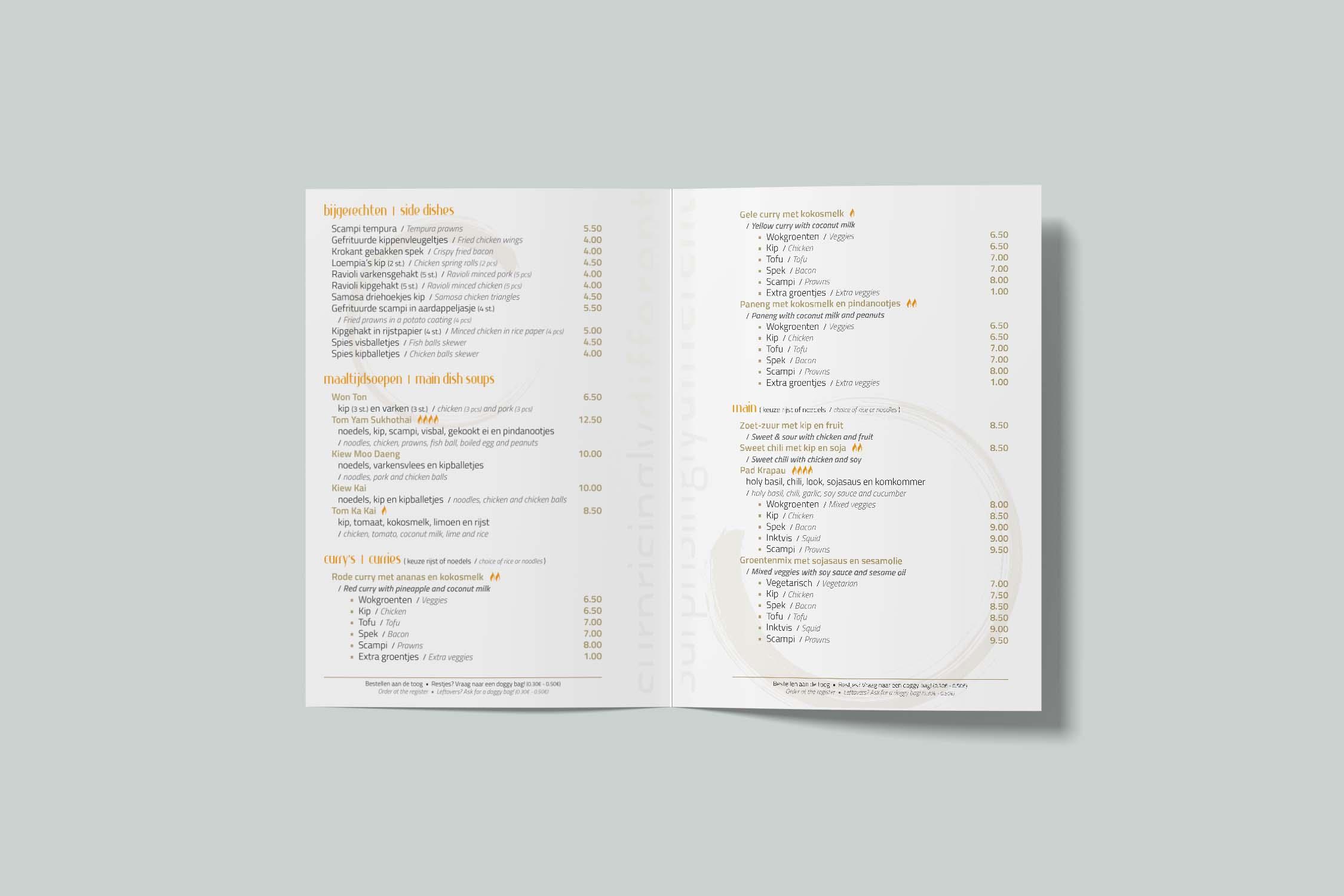 O-Thai menukaart back
