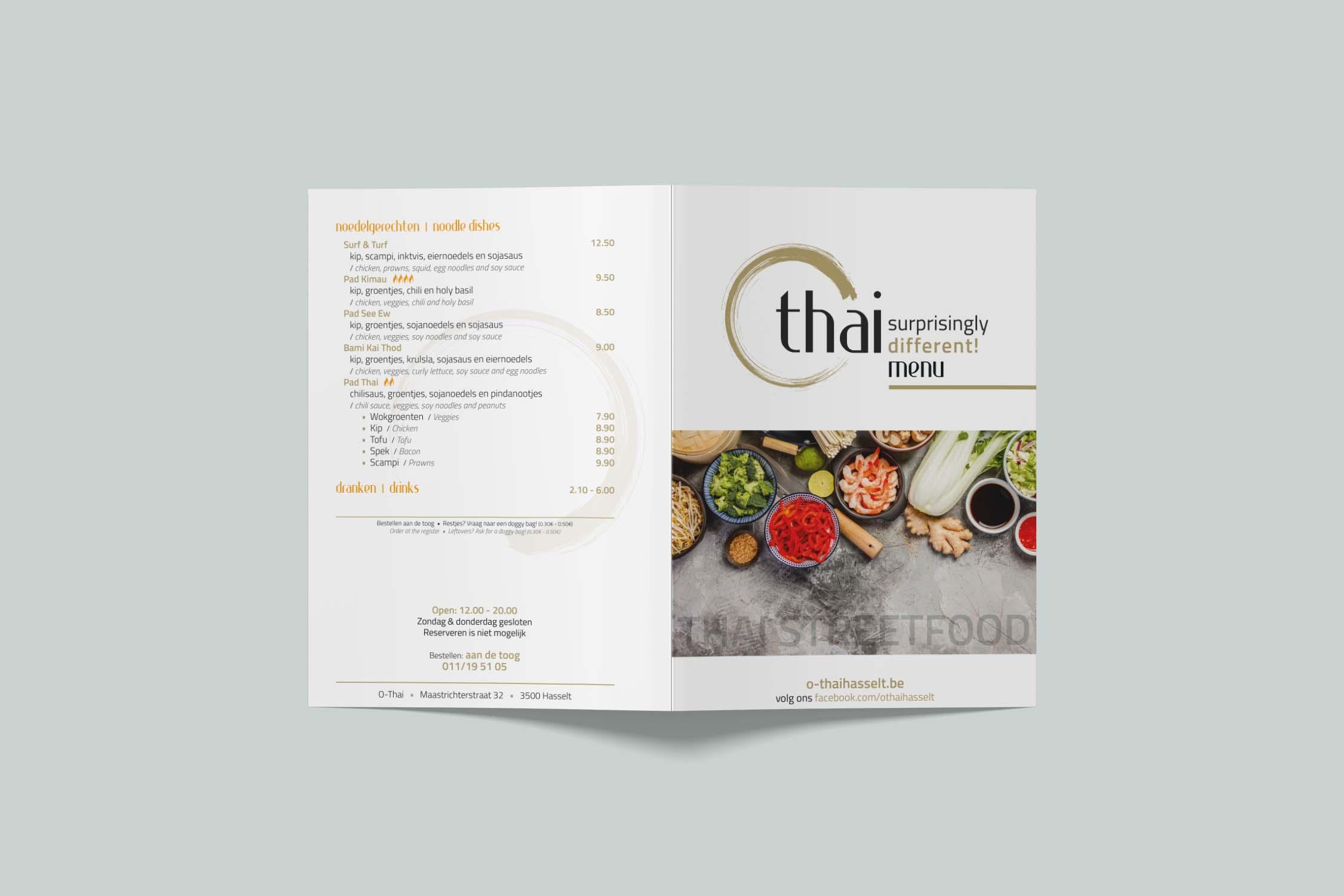 O-Thai menukaart front