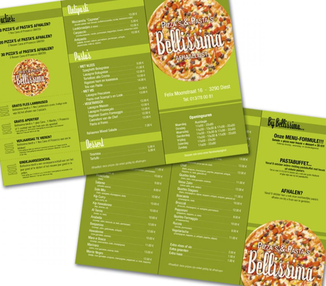 Bellissima folder menukaart 3xUS