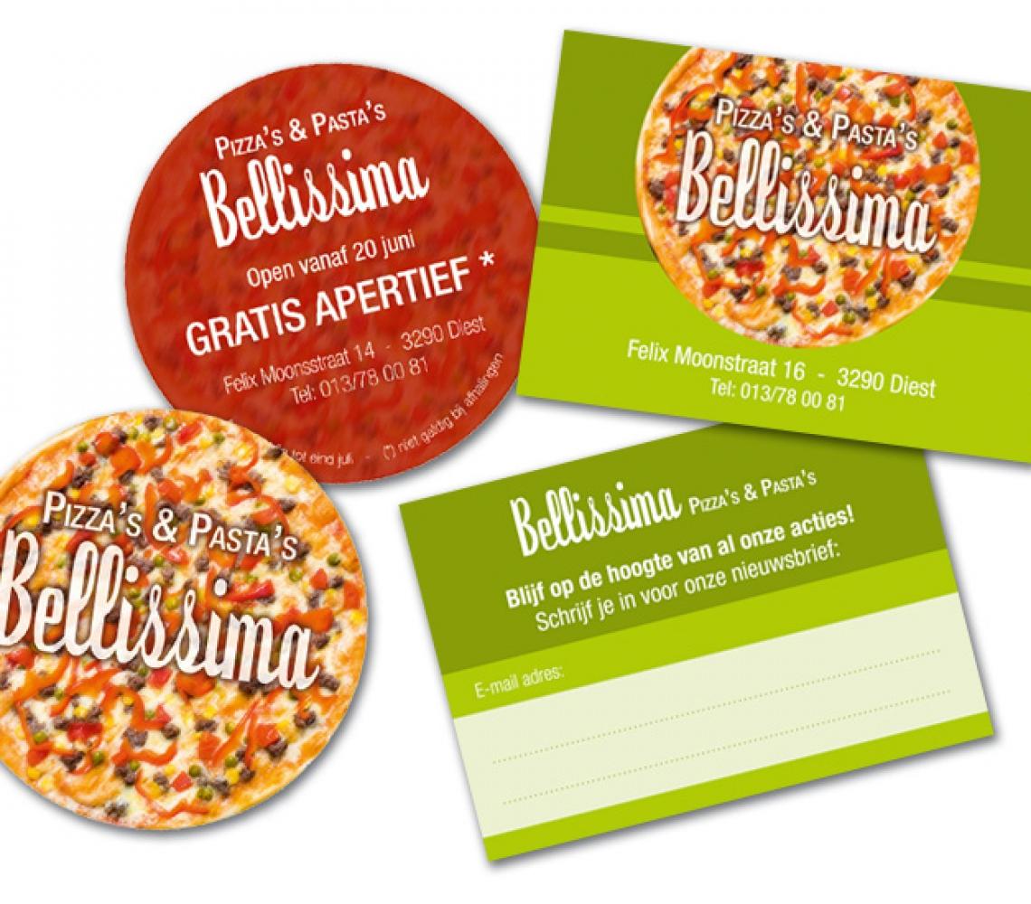 Bellissima kaartje cirkelvorm aankondiging opening, A7 kaartje inschrijving nieuwsbrief