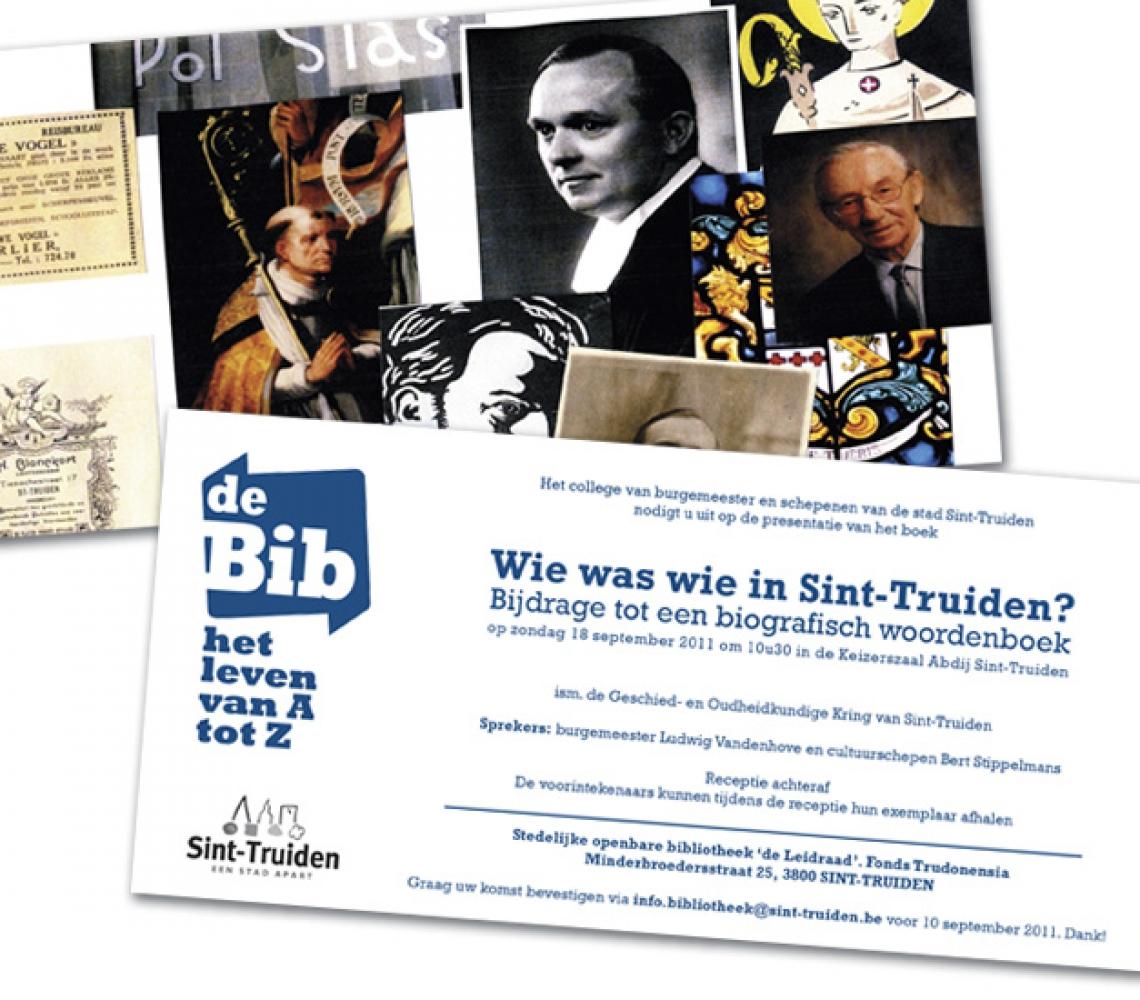 Bib Sint-Truiden Uitnodiging presentie boek Wie was wie in Sint-Truiden - US formaat