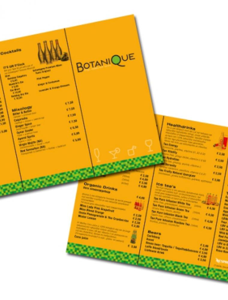 Botanique drankenkaart ontwerp en drukwerk