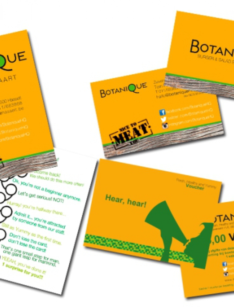 Botanique klantenkaart naamkaartje voucher drukwerk en ontwerp