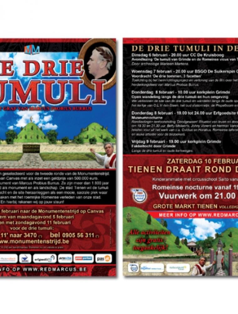 De drie tumuli campagne flyer
