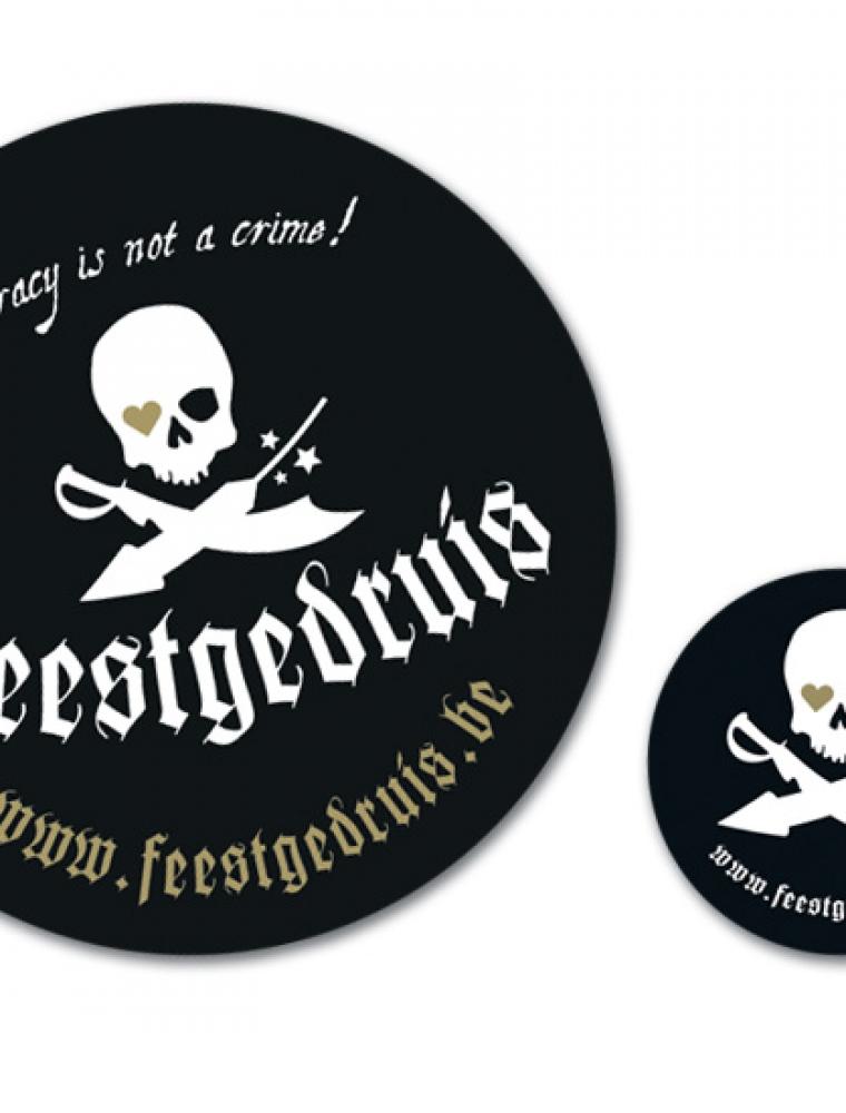Feestgedruis ronde stickers in verschillende formaten