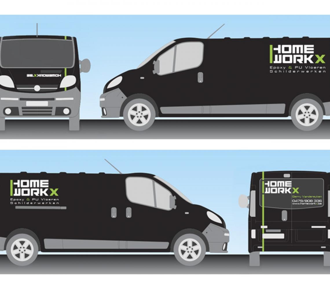 Home Workx bestickering bestelwagen