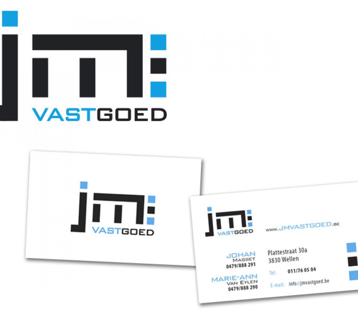 JM vastgoed logo ontwerp, naamkaartje