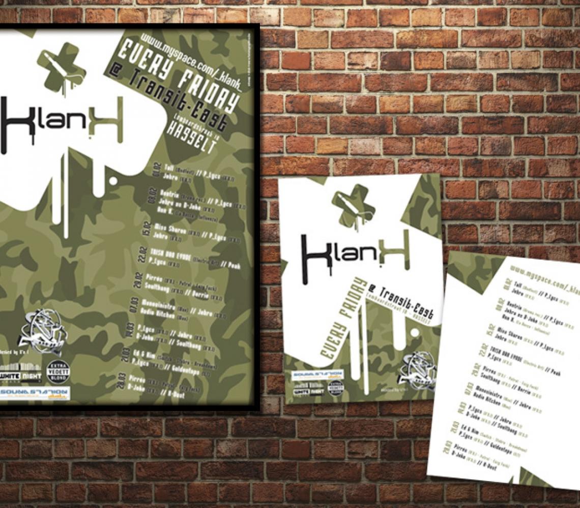 Klank affiche & A6 flyer eventaankondiging