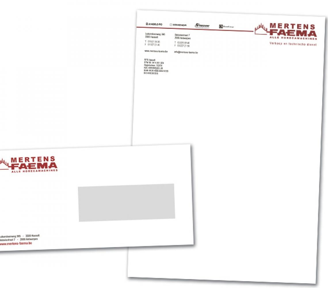 Mertens Faema briefhoofd & enveloppe