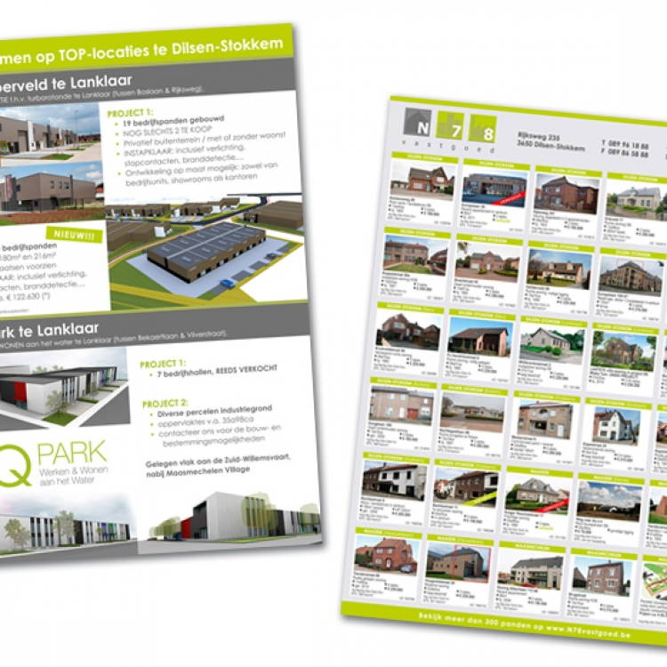 N78 vastgoed A4 flyer projecten + panden