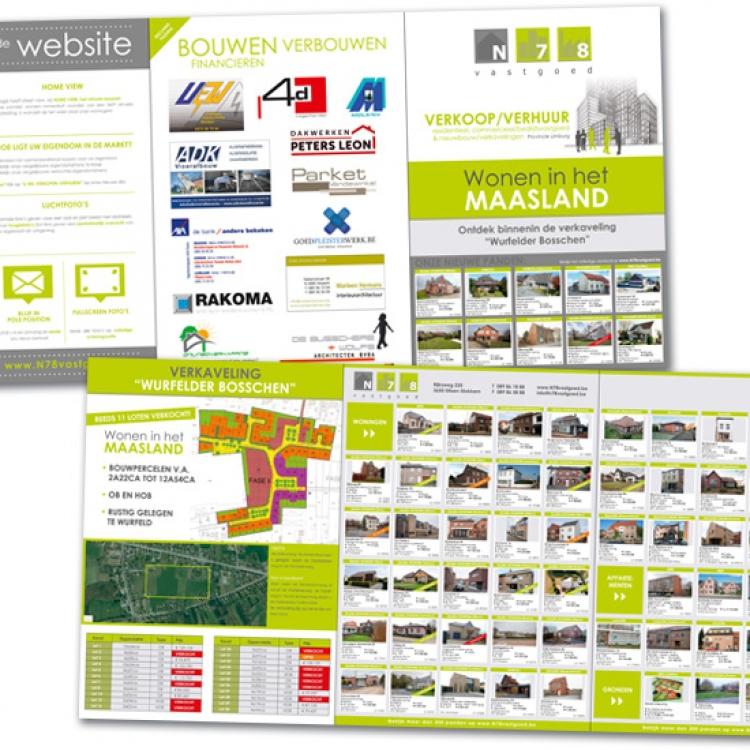 N78 vastgoed drieluik A4 folder projecten en panden aanbod