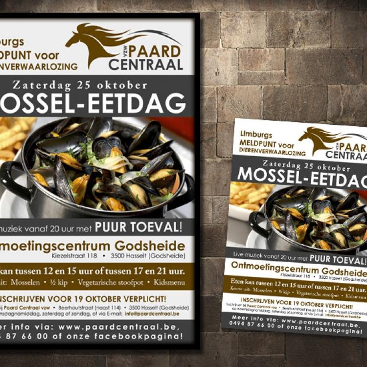 Paard Centraal affiche en flyer evenement fondsenwerving mosseleetdag