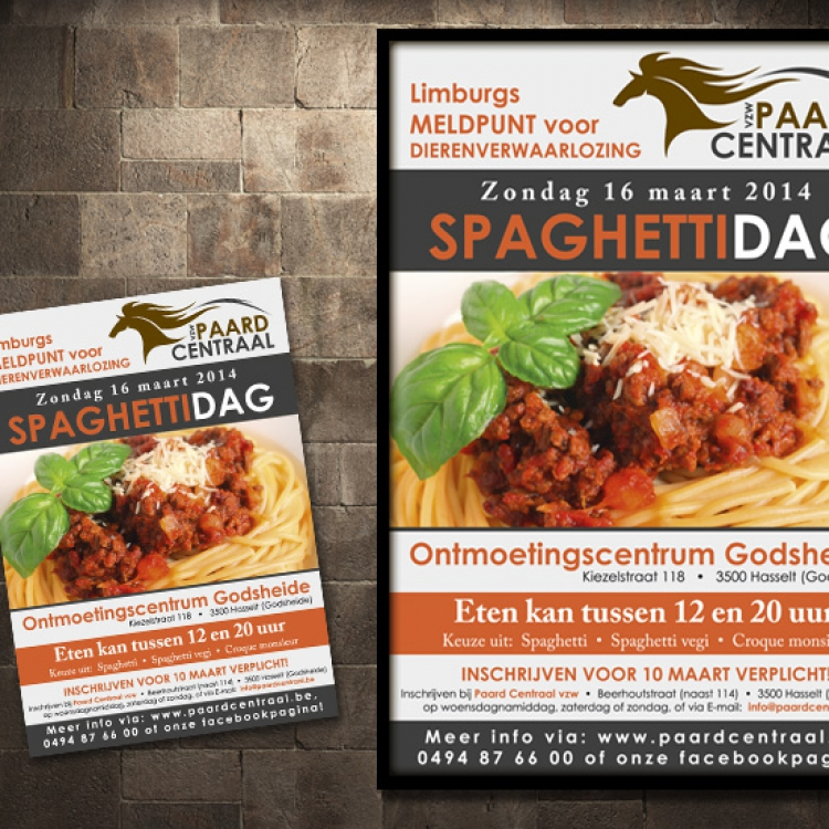 Paard Centraal affiche en flyer evenement fondsenwerving spaghettidag