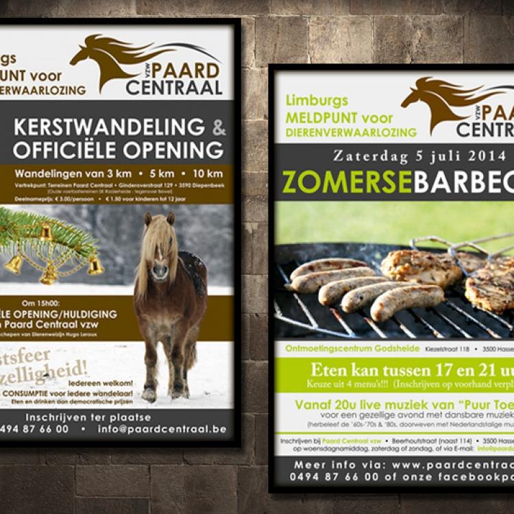 Paard Centraal affiches evenementen voor fondsenwerving kerstwandeling & barbeque