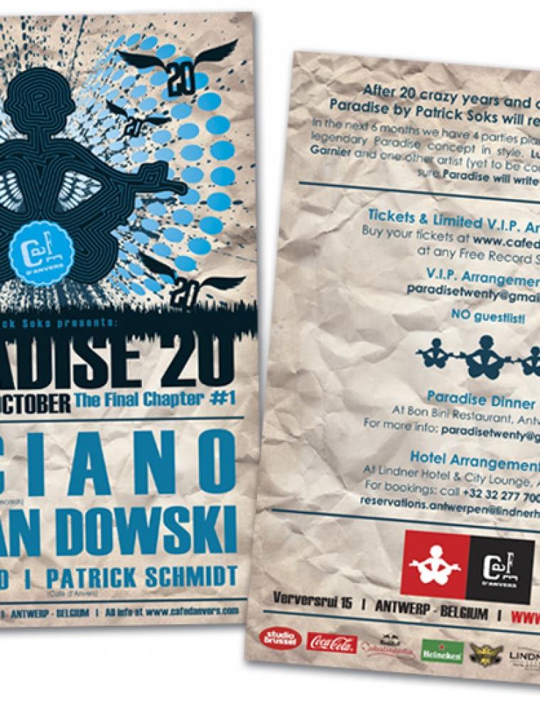 Paradise Café d'Anvers A5 flyer Luciano