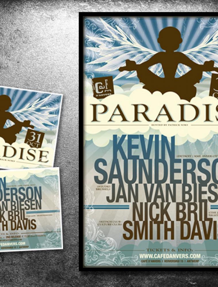 Paradise Café d'Anvers affiche & flyer Kevin Saunderson