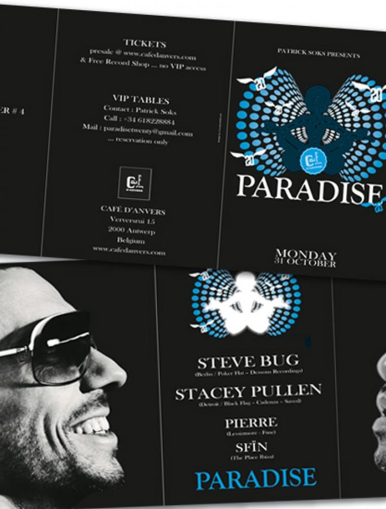Paradise Café d'Anvers flyer 3luik