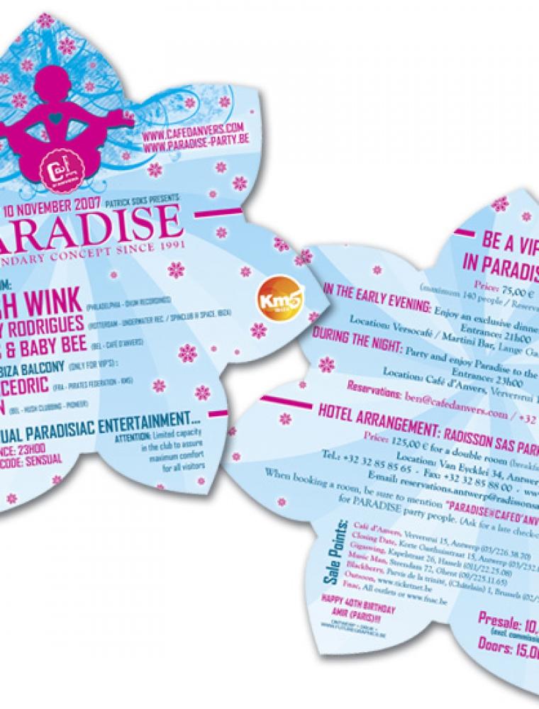 Paradise Café d'Anvers flyer kapvorm bloem
