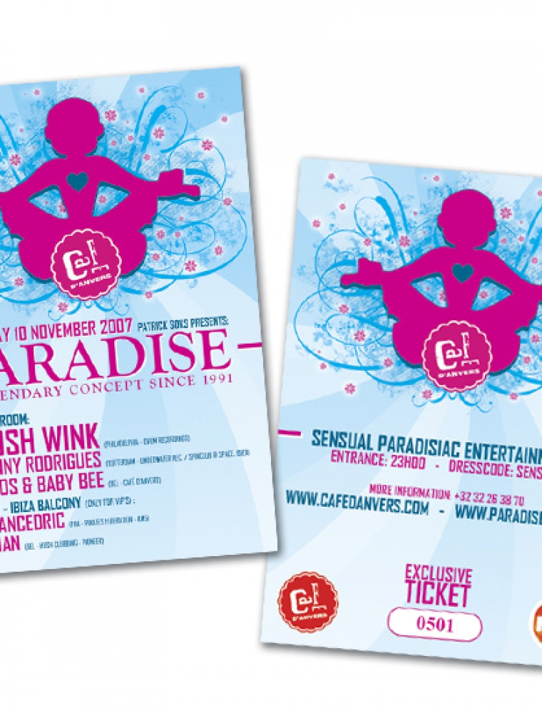 Paradise Café d'Anvers presale ticket genummerd