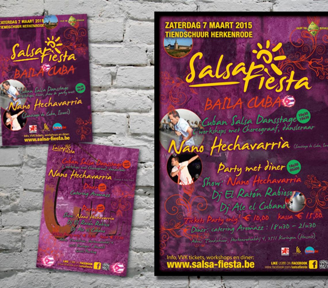 Salsa Fiesta A3 affiche en A6 flyer Baila Cuba