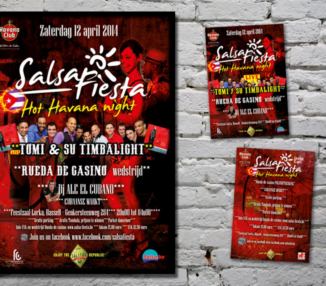 Salsa Fiesta A3 affiche en A6 flyer Hot Havana night