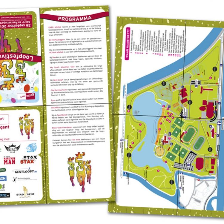 Stad Gent-Loopfestival campagne - Grondplan en informatie, A4 kruisvouw naar A6