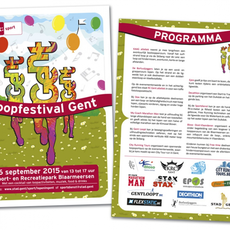 Stad Gent-Loopfestival campagne - flyer A5 formaat