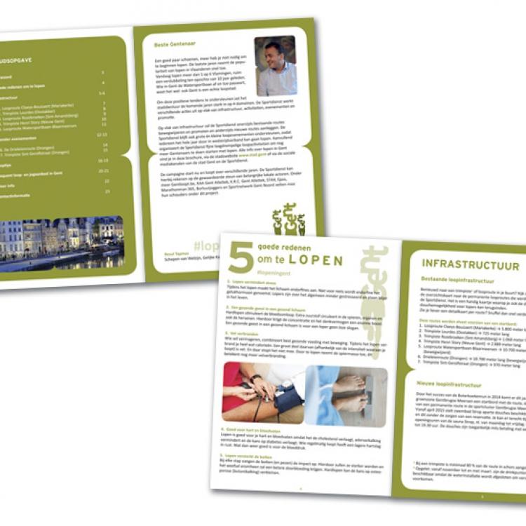 Stad Gent - LopenInGent campagne - A5 brochure inhoud