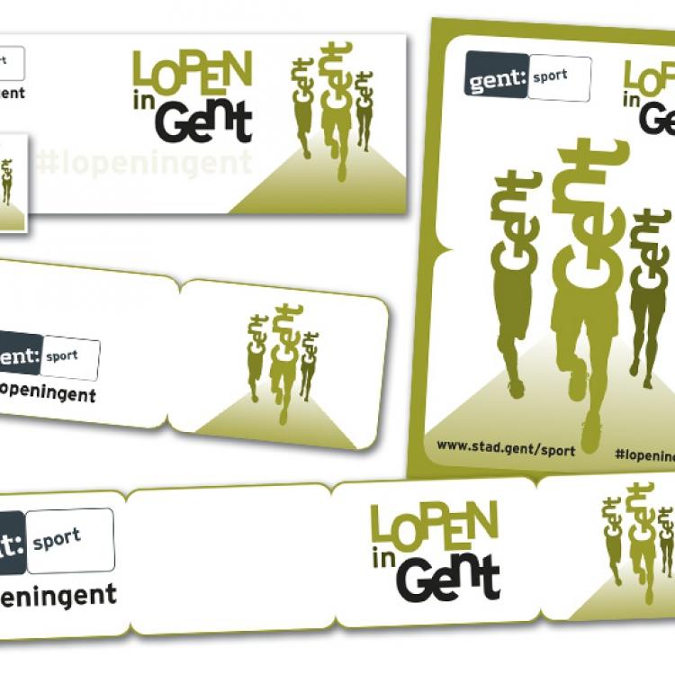 Stad Gent - LopenInGent campagne - Banner en profielfoto voor Facebook, A5 advertentie, handtekening voor email en header voor nieuwsbrief