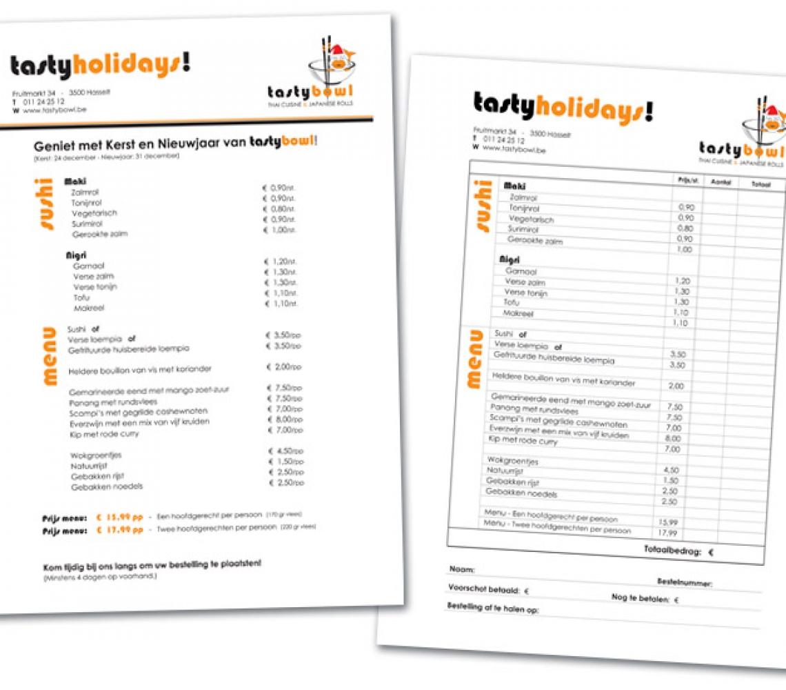 Tasty Bowl Eindejaar menukaart + bestelformulier, formaat A4