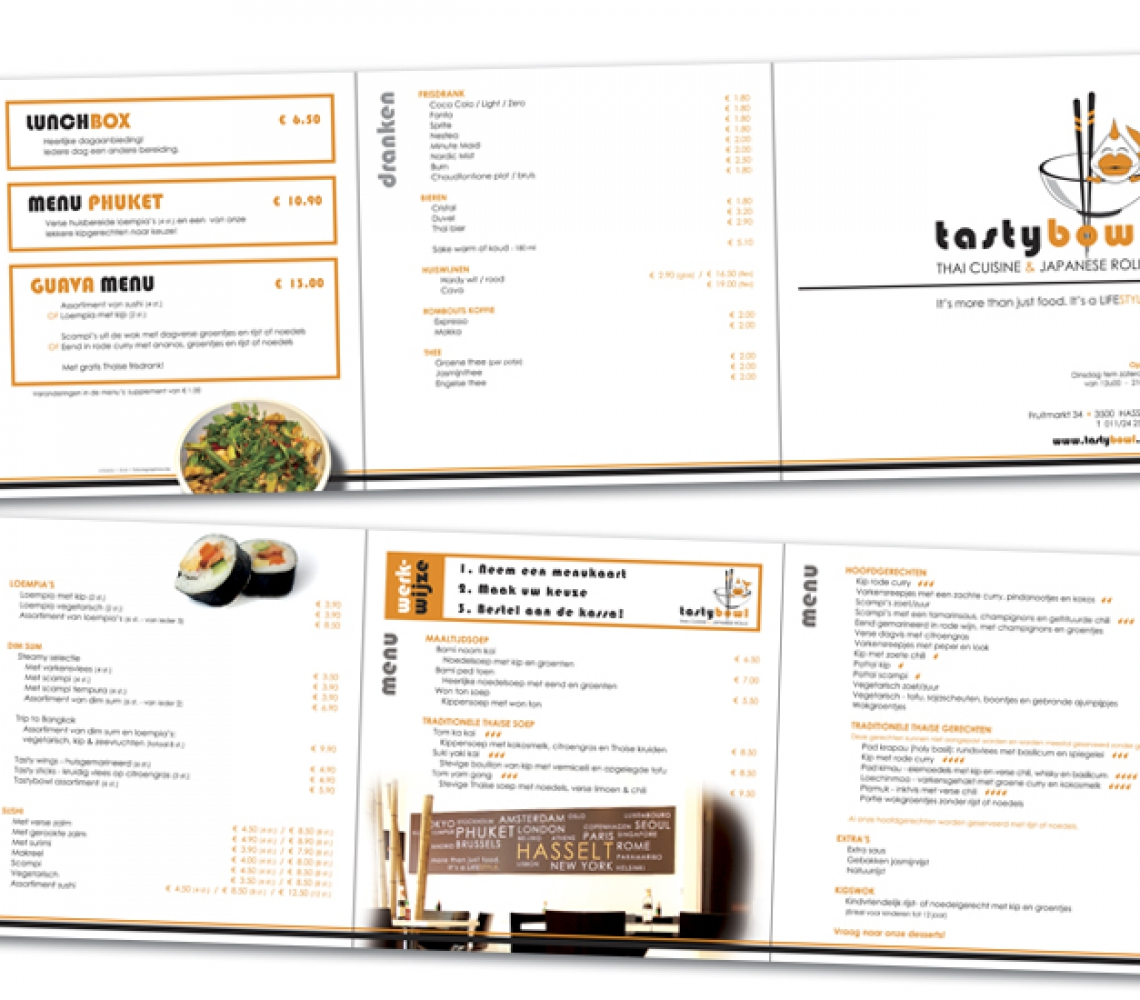 Tasty Bowl menukaart drieluik vierkant, 20cm oprollend gevouwd (2)
