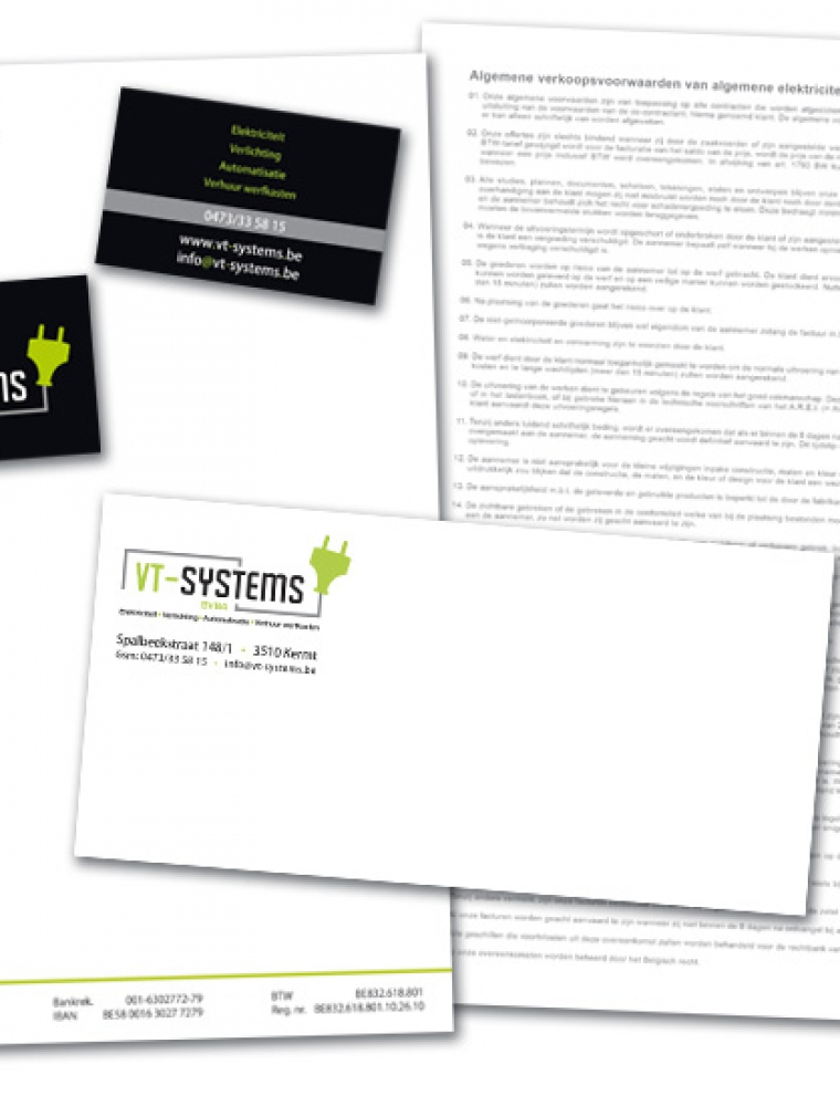 VT Systems Briefhoofd, US enveloppe en naamkaartje