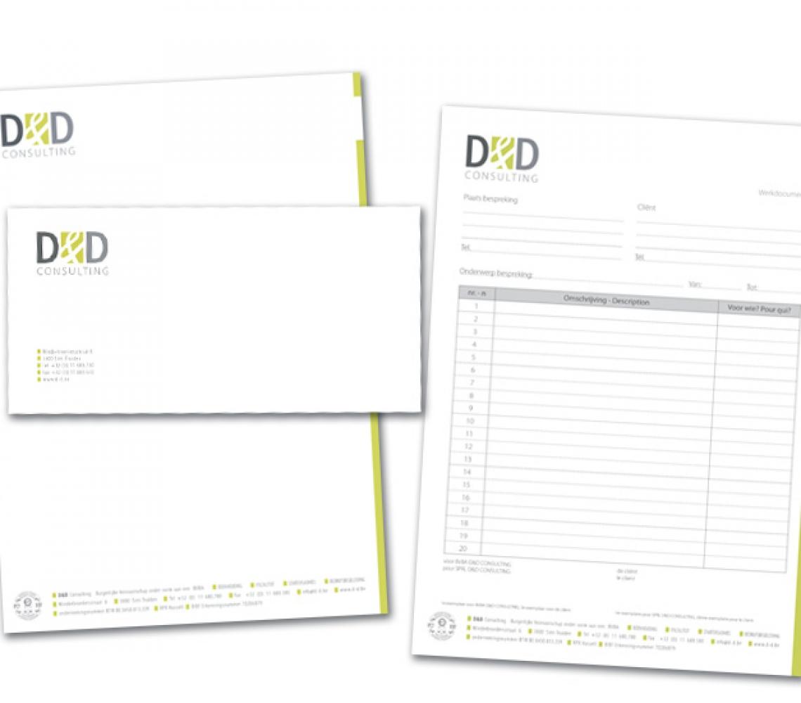 d&d briefhoofd, werkblad & enveloppe US