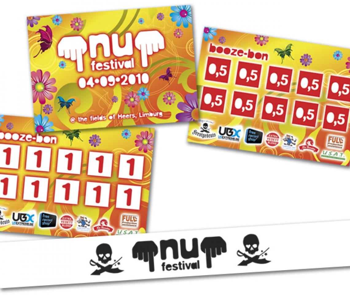 nu festival 2010 Booze-bonnen, A7 formaat (aka zuipkaarten) en bedrukking tyvek polsbandjes