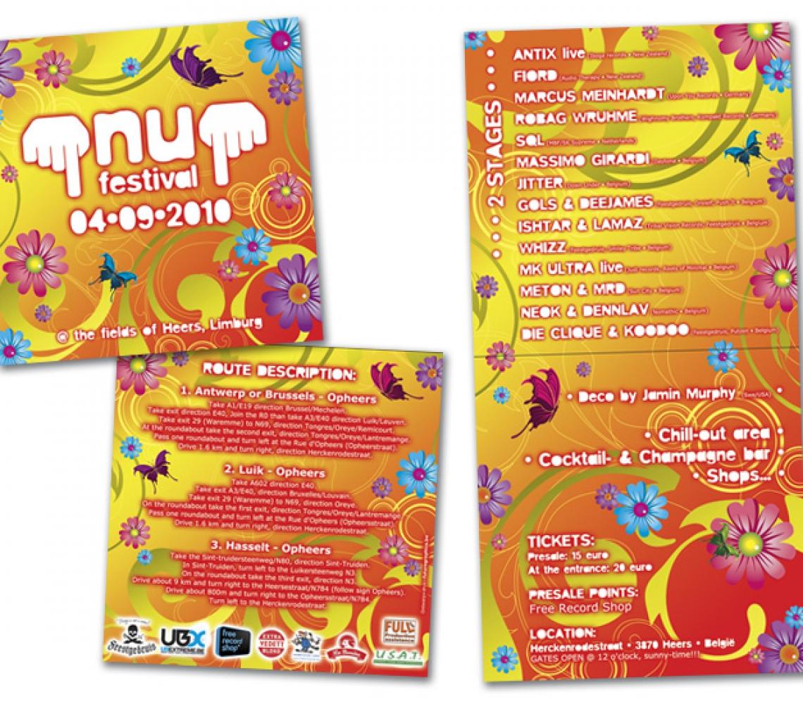 nu festival 2010 Flyer eventaankondiging, 2-luik  carré formaat
