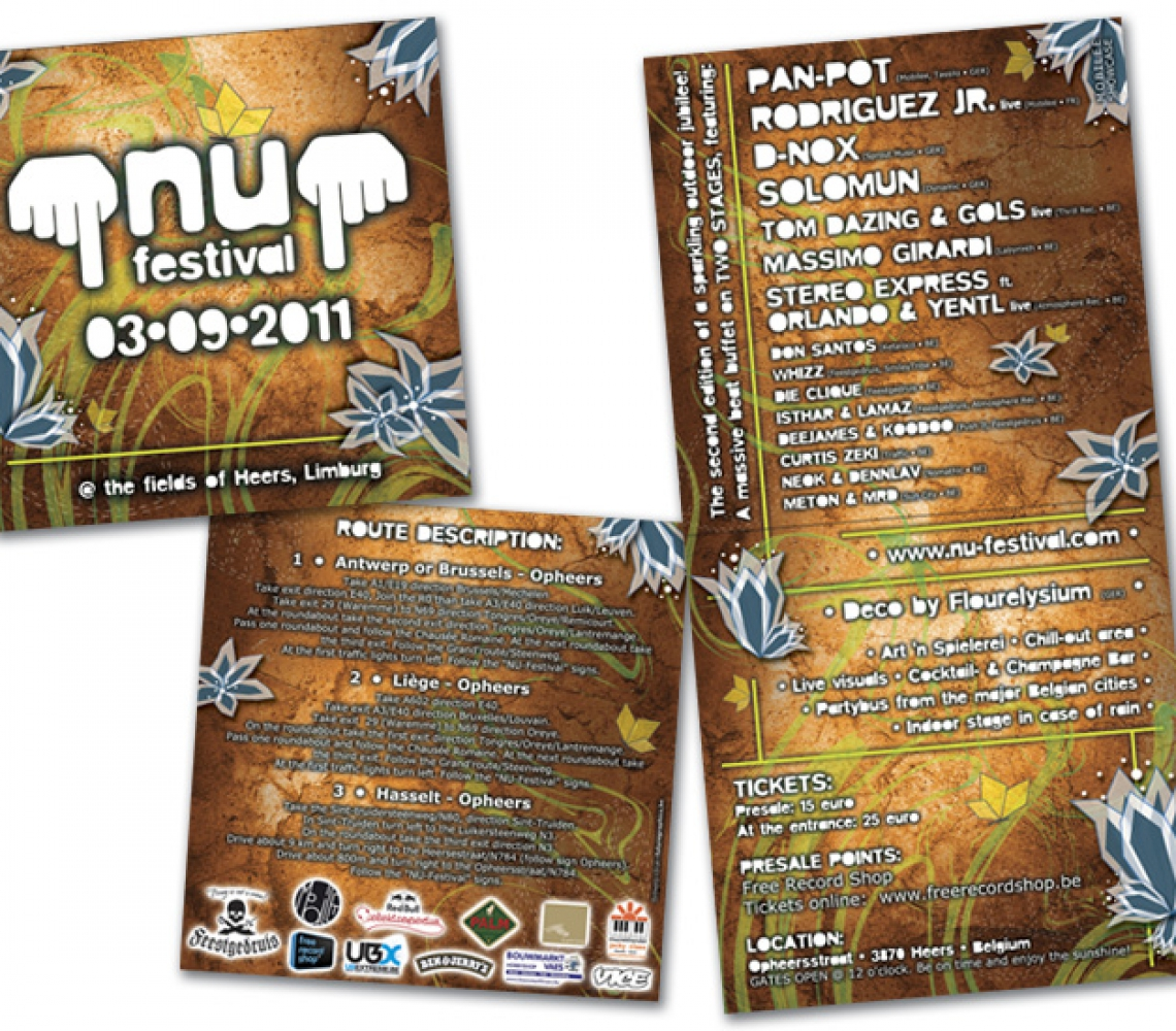 nu festival 2011 Flyer eventaankondiging, 2-luik  carré formaat