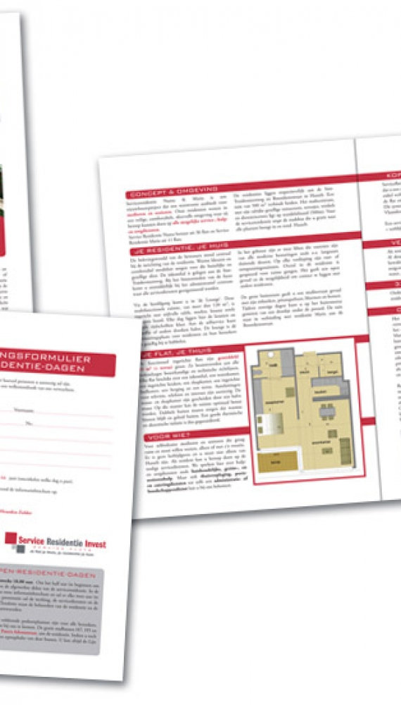 service residentie invest folder nieuwe serviceflats, 2xA4 staand
