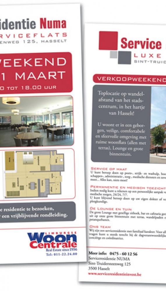 service residentie invest folder nieuwe serviceflats, A4 staand